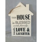 WOODEN HOME SHAPE PLAQUE (WHITE)